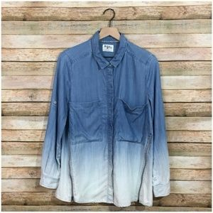 Anthro Holding Horses Ombré Chambray Top w/ Lace 6
